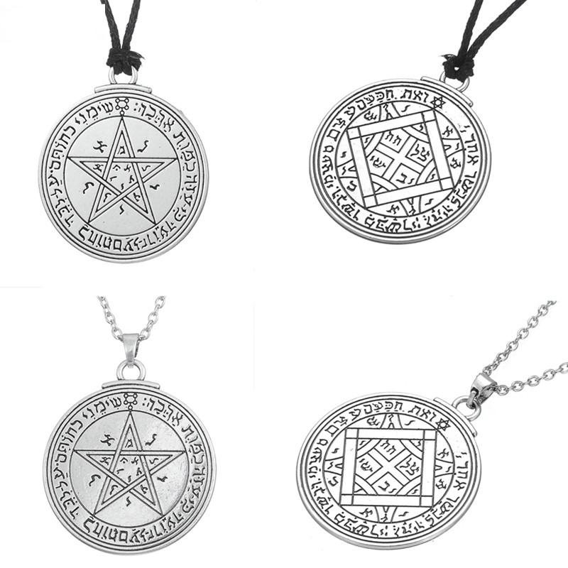 Skyrim Unque Double Side Charm Talisman of Venus Love Pentacle Key of Solomon Pendant Necklace Wicca Necklace Fashion Jewelry