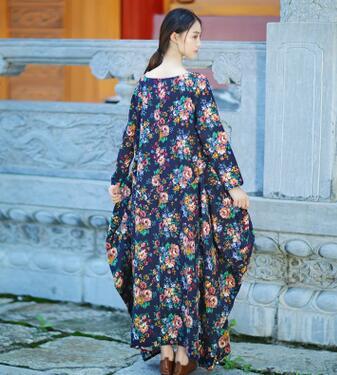 Stampa Di Size E rosso Big Retro Elegante Inverno Allentato Sp1072 Blu Musulmani Vintage Dubai Floreale Lino Abito Autunno Vestito Pqf8I8