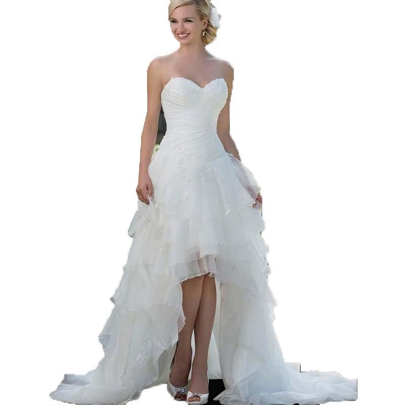 36007d85ee7 Изысканный Милая Корсет Высокий Низкий Свадебные платья органзы аппликации  короткое спереди и длинное сзади Свадебные платья