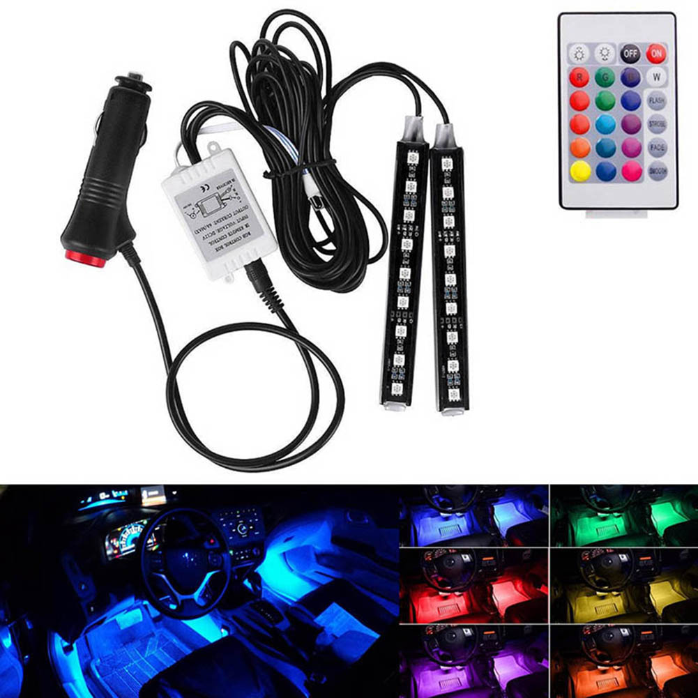 12V Car Lights Waterproof 2 Pcs Light Strips Flexible LED Auto Interior Decor Floor Lamp Kit Car Styling