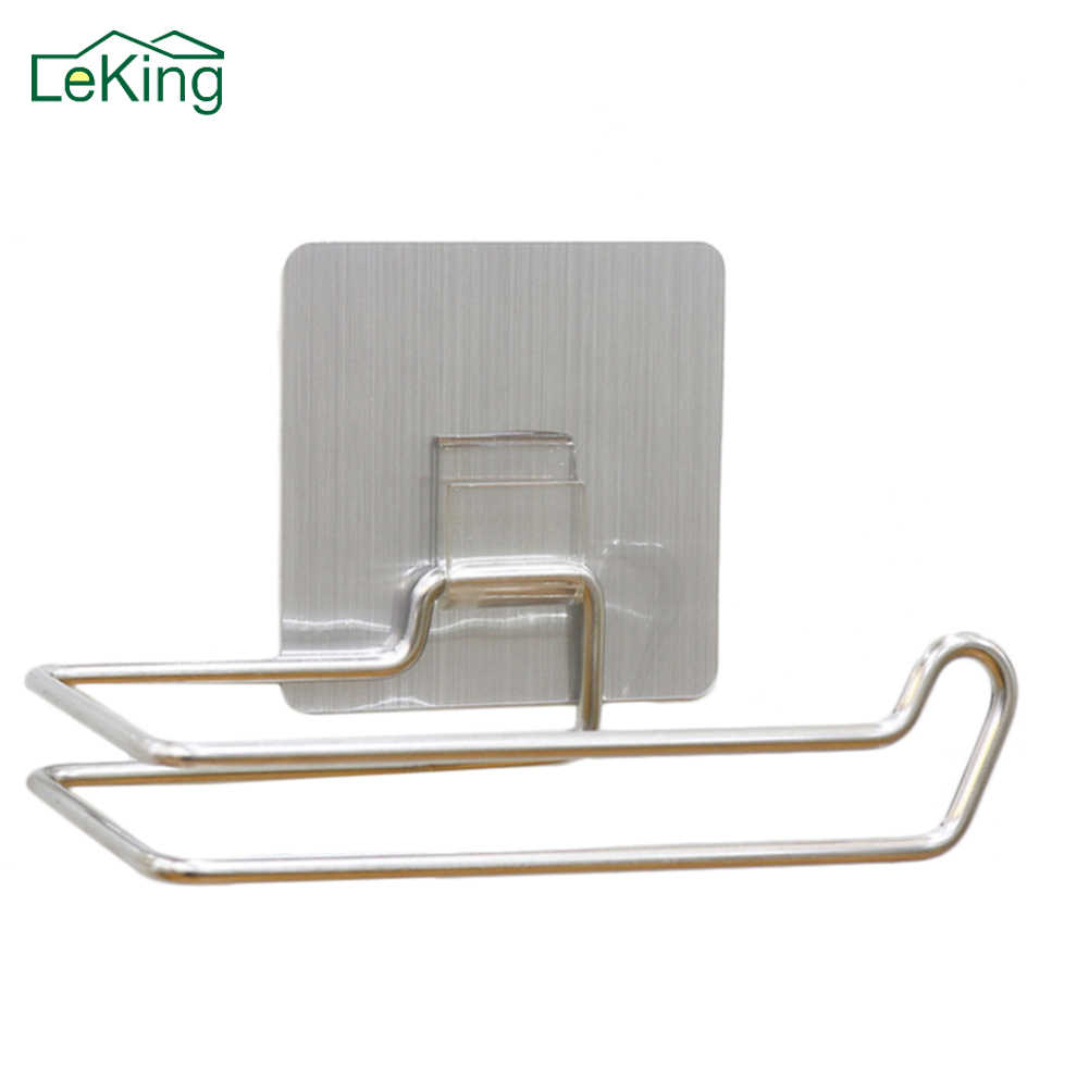 LeKing Toilet Kitchen Roll Paper Holder Stainless Steel Repeatedly Washable Stick Hooks Rack Bathroom Storage Accessories