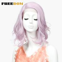 FREEDOM Synthetic Wigs For Black Women Long Pink Wavy 22 Inch Cosplay Wigs Lace Front Wigs For Women Heat Resistant Free Ship