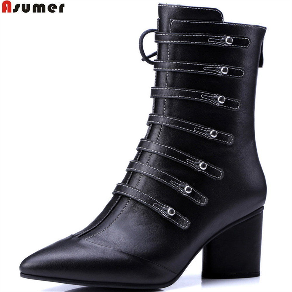 ASUMER pointed toe zipper autumn winter new arrive women shoes with crude black genuine leather boots cross tied ankle boots asumer fashion autumn winter new arrive