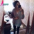Giro de las nuevas mujeres batwing manga larga con cuello en V bolsillos diseño largo flojo suéter hecho punto rebeca/capa/prendas de vestir exteriores femenina