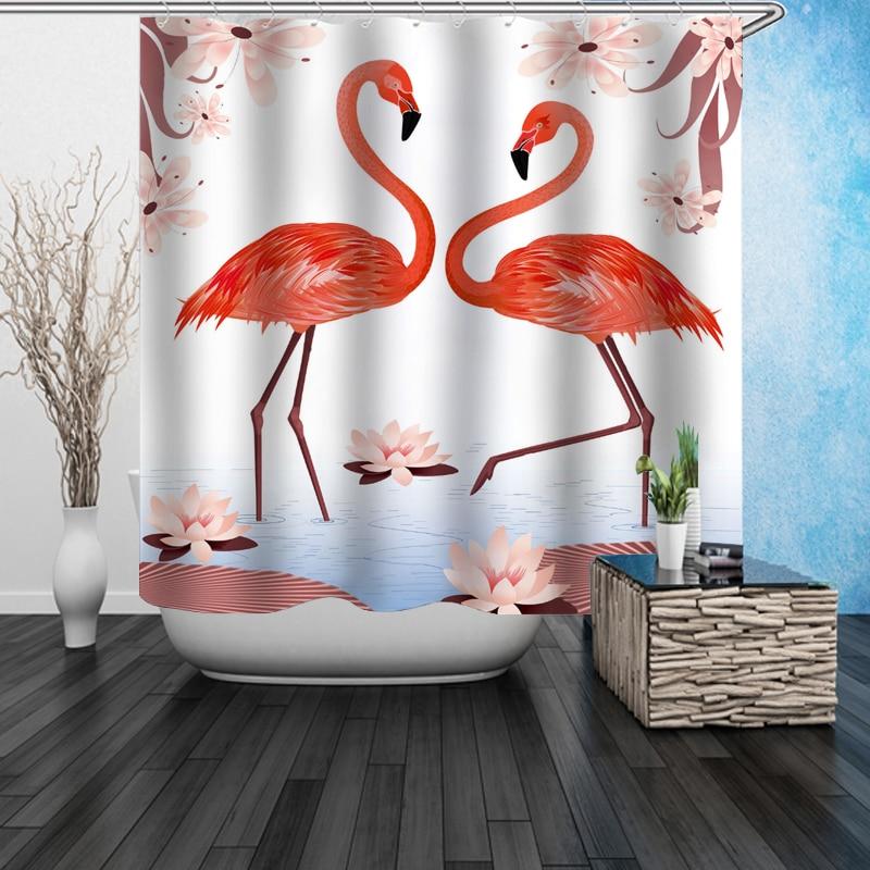 Pink Flamingo Bathroom Decor.Us 18 99 Chic Tropical Pink Flamingo Couple Shower Curtain Flamingos Bathroom Curtain Beach Seaside Senery Animal Bathroom Decor Gifts In Shower