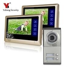 Yobang Security Apartments Wired Handsfree Color Doorphone Door Intercom 7 Inch Video Door Phone With Two Monitors