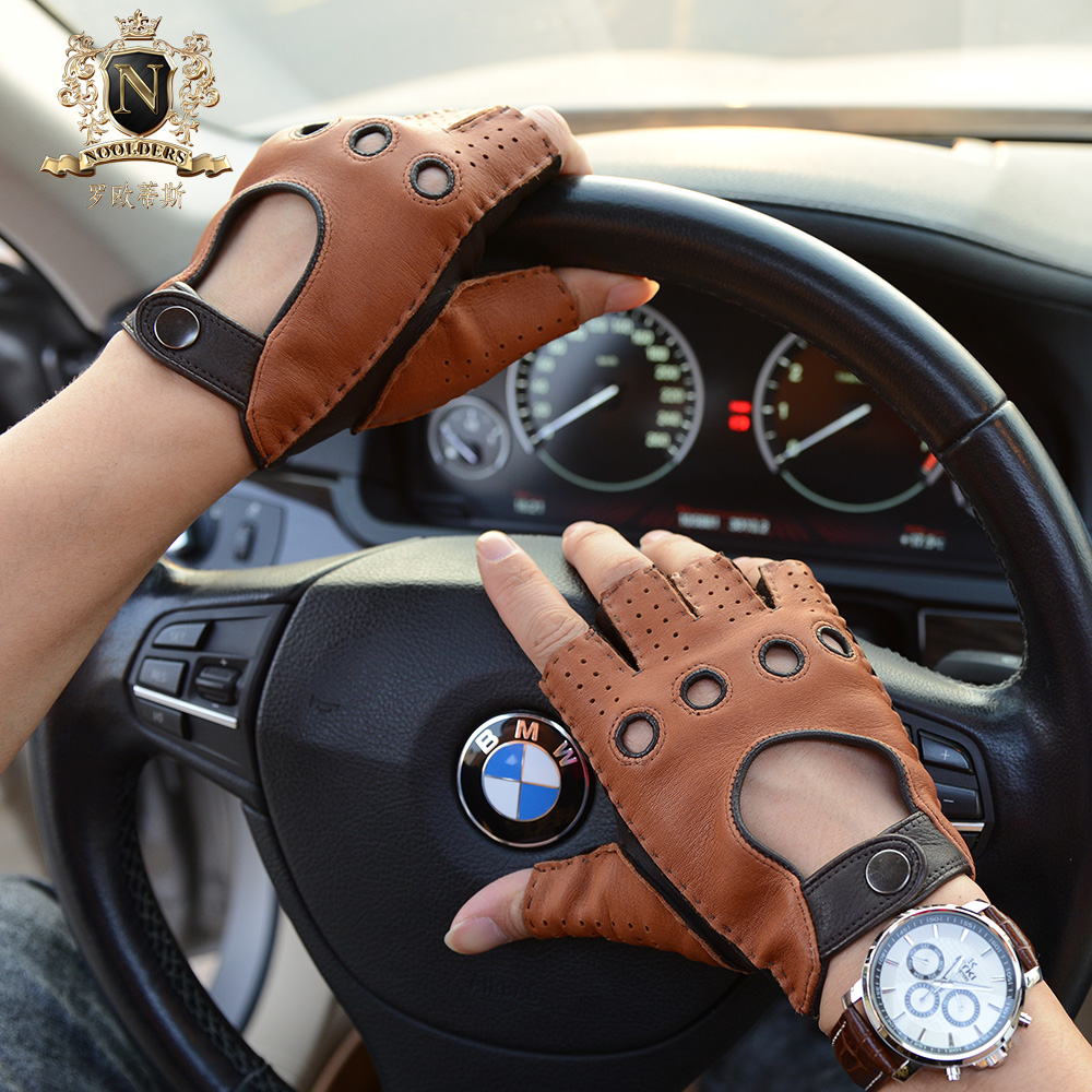 Lastest Mans Half Finger Gloves Deerskin Retro Motorcycle Leather Male Semi-Fingers Driving M51