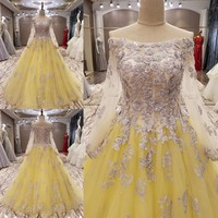 Custom Made 2017 New Design Ball Gown Long Sleeve Crystal Beading Luxury Muslim Evening Dresses Party