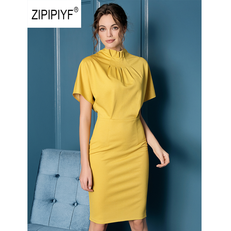 ORIGINAL 2019 Elegant Dresses Office Lady Ruched Batwing Sleeve Vestidos Package Hip dress Party vogue lente damesmode AB396-in Dresses from Women's Clothing    1