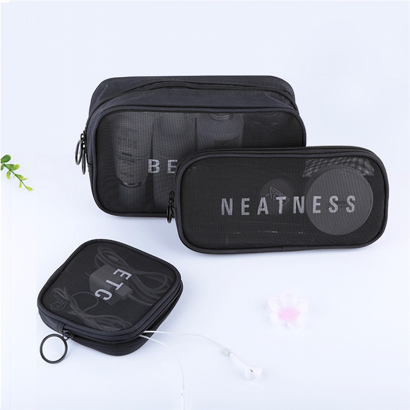 78bf073b38 Nylon Mesh Makeup Cases And Bags Short Travel Toiletry Bags Waterproof Women s  Cosmetic Bag For Cosmetics