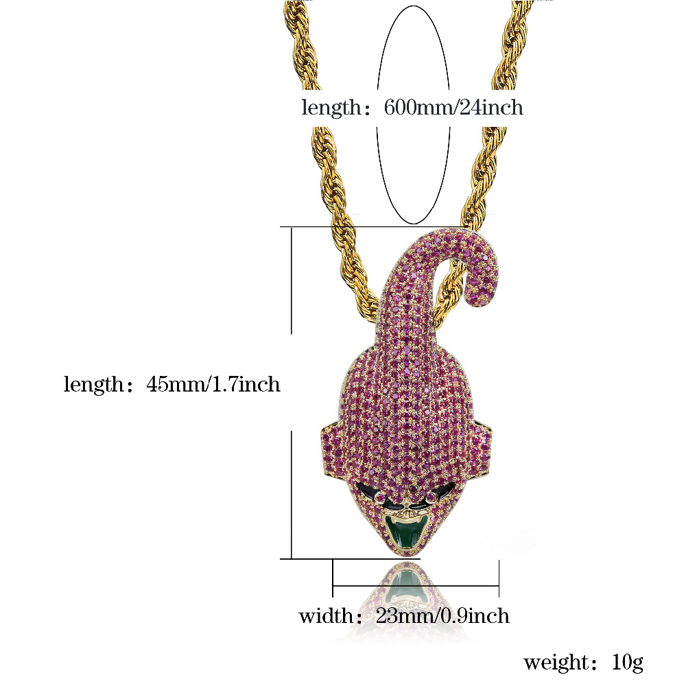 Hip Hop Fashion Iced Out Chain Dragon Ball Super Majin Buu Pendant Cubic Zircon Personalized Necklace for Male Christmas Gifts