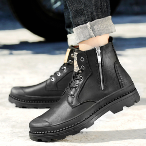 Image 2 - Mens winter boots work safety shoes casual genuine leather classics black plush nice boot man shoe ankle military boots for men