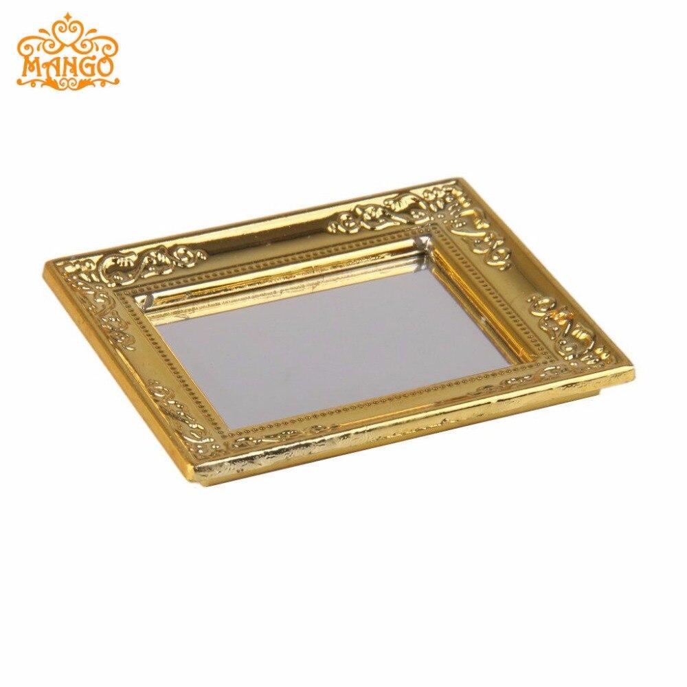 1:12 Miniaturno ogledalo Širina ogledala v okvirju za lutke 5,4 cm, - Igra igranja vlog - Fotografija 2