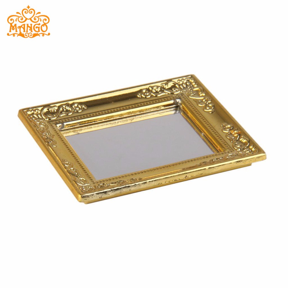 1:12 Dollhouse Μινιατούρα Χρυσό Καθρέφτης - Παιχνίδι ρόλων - Φωτογραφία 2