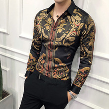 Luxury Gold Black Shirt Men 2018 New Slim Fit Long Sleeve Camisa Masculina Gold