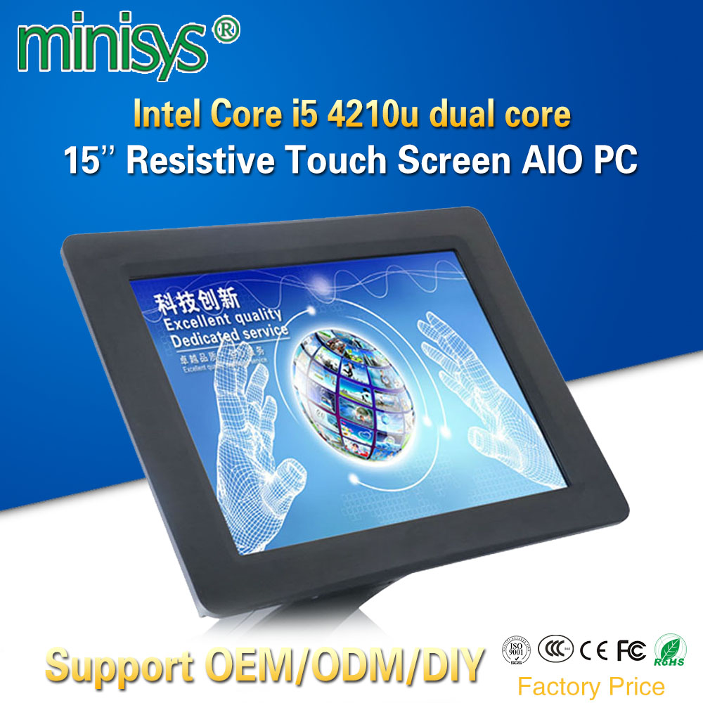 Minisys 15 Inch Resistive Touchscreen All-In-One PC Intel I5 4210u Dual Core 1024x768 Industrial Fanless Panel Computer For POS