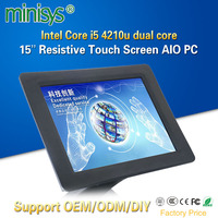 Minisys 15 Inch Resistive Touchscreen All In One PC Intel i5 4210u Dual Core 1024x768 Industrial Fanless Panel Computer For POS