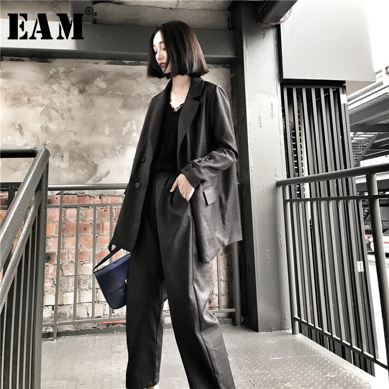 [EAM] 2019 New Autumn Lapel Long Sleeve Loose Plaid Button Pocket Temperament Leg Pants Two Piece Suit Women Fashion JY105