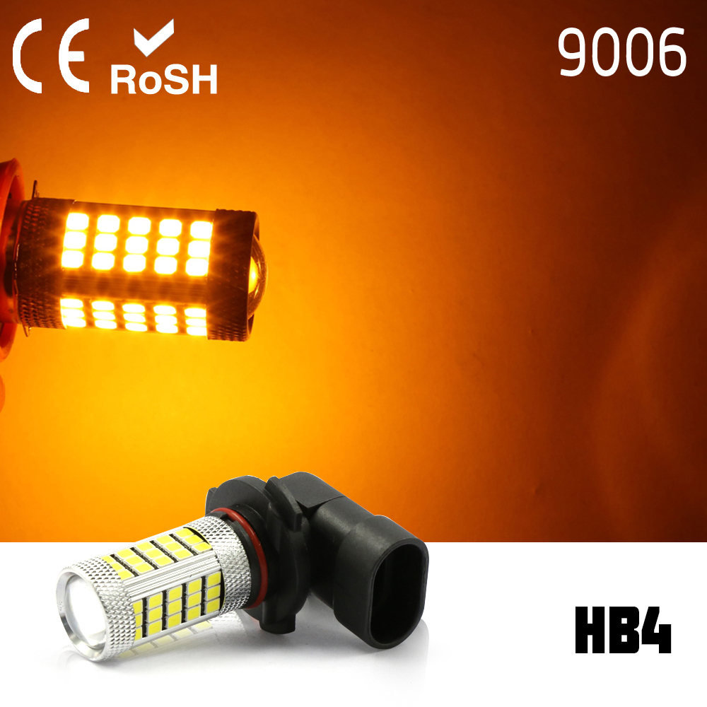 2x 9006 HB4 High Power 63 LED White Projector Fog Driving DRL LED Light Lamps yellow