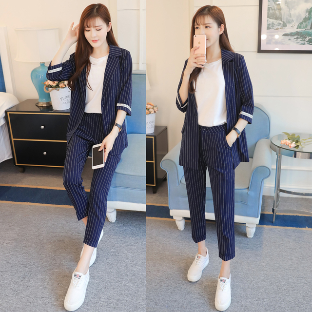 Professional Suit Women New Fashion Casual Small Blazer Stripe Suit