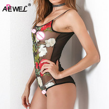 ADEWEL Sexy Floral Embroidery Mesh Bodysuit Women Lace Bodycon Jumpsuit See Through Club Romper Overalls Body Feminino