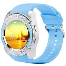 V8 smart watch runde mtk6261d smartwatch mit kamera sim-karte reloj inteligente für ios android telefon intelligente elektronik