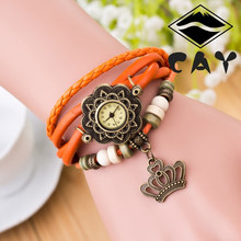 women's fashion casual wrist watch ladies bracelet vintage quartz analog watch women of crown charm and wooden beads decoration