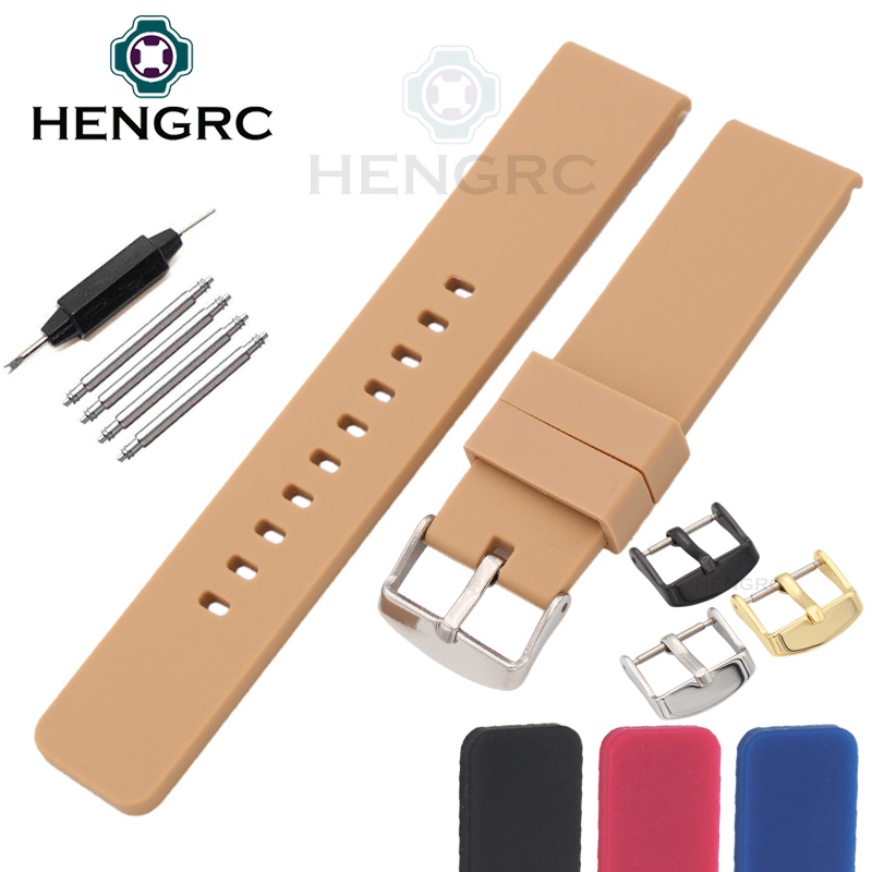 High Quality Watchbands 4colors Fashion Sport Waterproof Silicone 20mm Strap For Smart Watch Band Metal Buckle Accessories 20mm silicone rubber watchbands men women sport waterproof watch band strap black red blue walnut metal buckle accessories