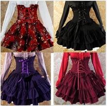 Anime damas victoriana Lolita gótico Barbie palacio de talle alto falda de la princesa delgada 4 colores del traje de Cosplay