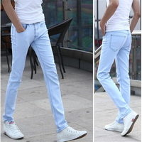 Sky Blue Men's Stretch Jeans 28 29 30 31 32 33 34 36 Teen Fashion Casual Man Trousers Slim Elegant Comfort cotton Pants 2018