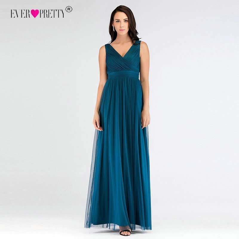 V-Neck Long   Bridesmaid     Dresses   Ever Pretty Sexy Backless Pleated Tulle Empire Formal Gowns Teal Mesh Ruched Wedding Guest   Dress