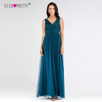 V Neck Long Bridesmaid Dresses Ever Pretty Sexy Backless Pleated Tulle Empire Formal Gowns Teal Mesh Ruched Wedding Guest Dress