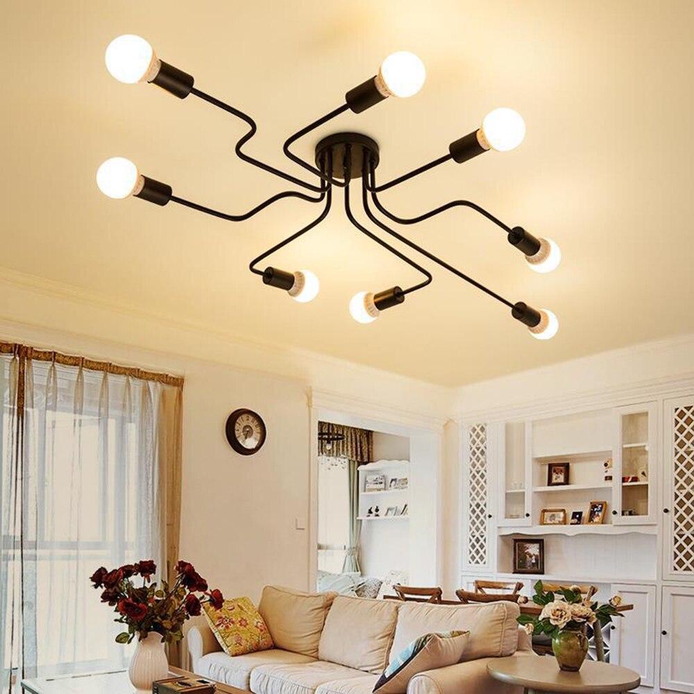 220v Modern LED avize aydınlatma armatürleri siyah demir 4/6/8 kafa şube tavan avize endüstriyel lamba oturma odası yatak odası