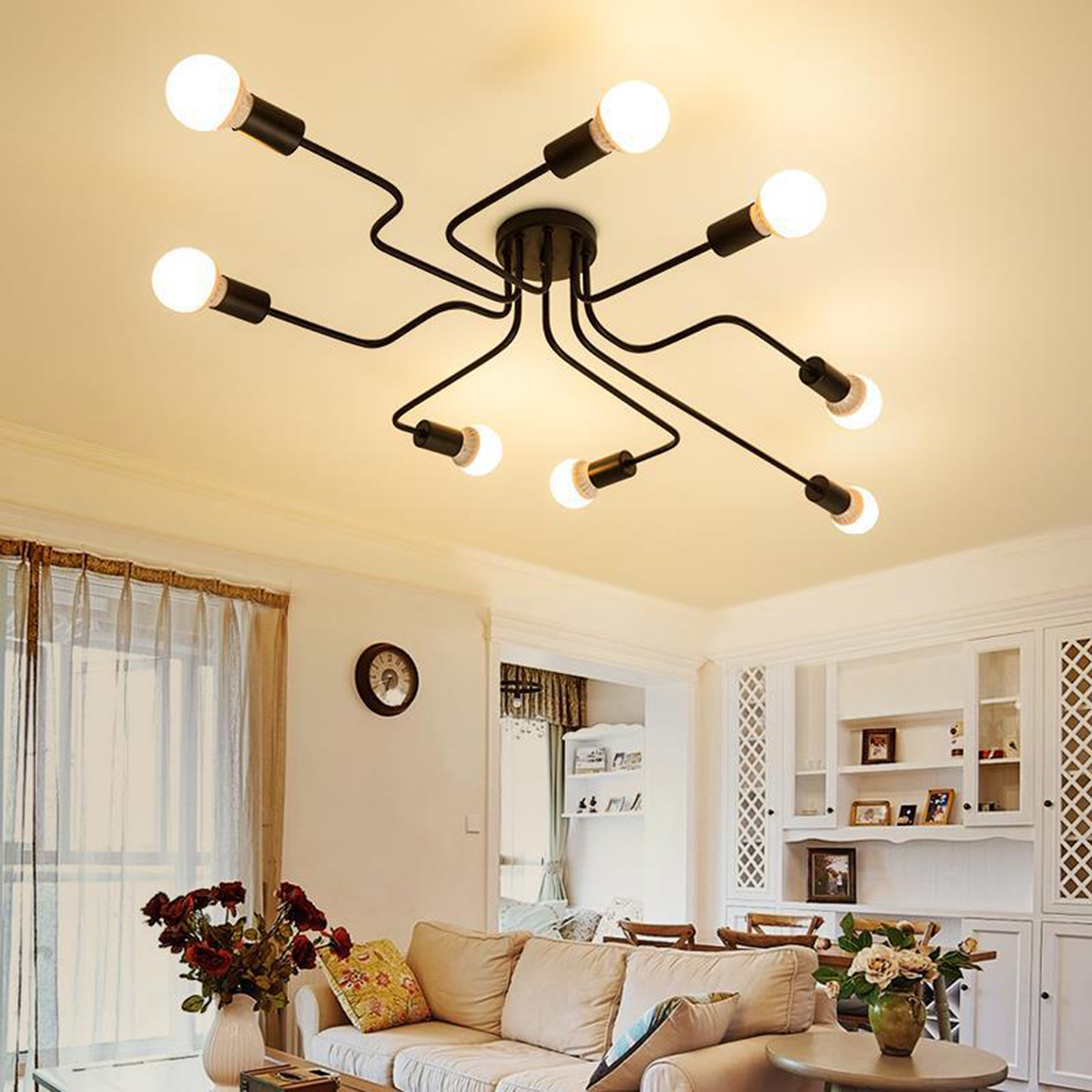 220v Moderne LED Kronleuchter Leuchten Schwarz Eisen 4/6/8 Kopf Zweig Decke Kronleuchter Industrielle Lampe Wohnzimmer Schlafzimmer
