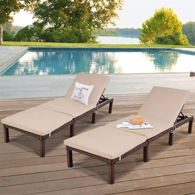4 Position Adjustable Back Rest Chaise Lounge Chair Outdoor Furniture Rattan Beach Chairs with Seat and Back Cushion HW58523