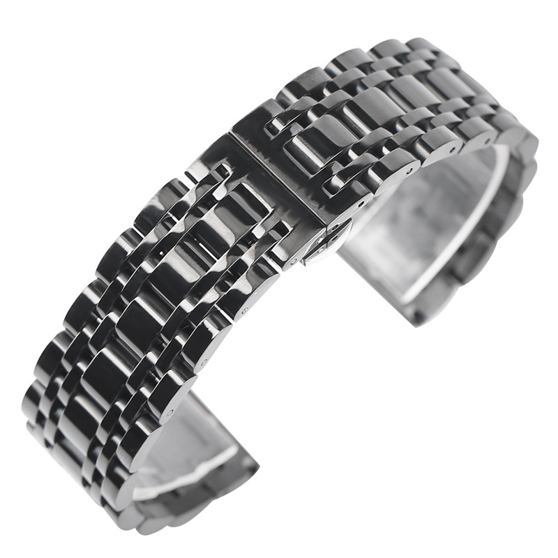20mm 22mm Black/Golden Stainless Steel Band Metal Strap for Men Women Wristwatch Steel Bracelet Watch Replacement +2 Spring Bars 22mm black watch band adjustable solid link stainless steel metal fashion bracelet clasp 2 spring bars strap high quality