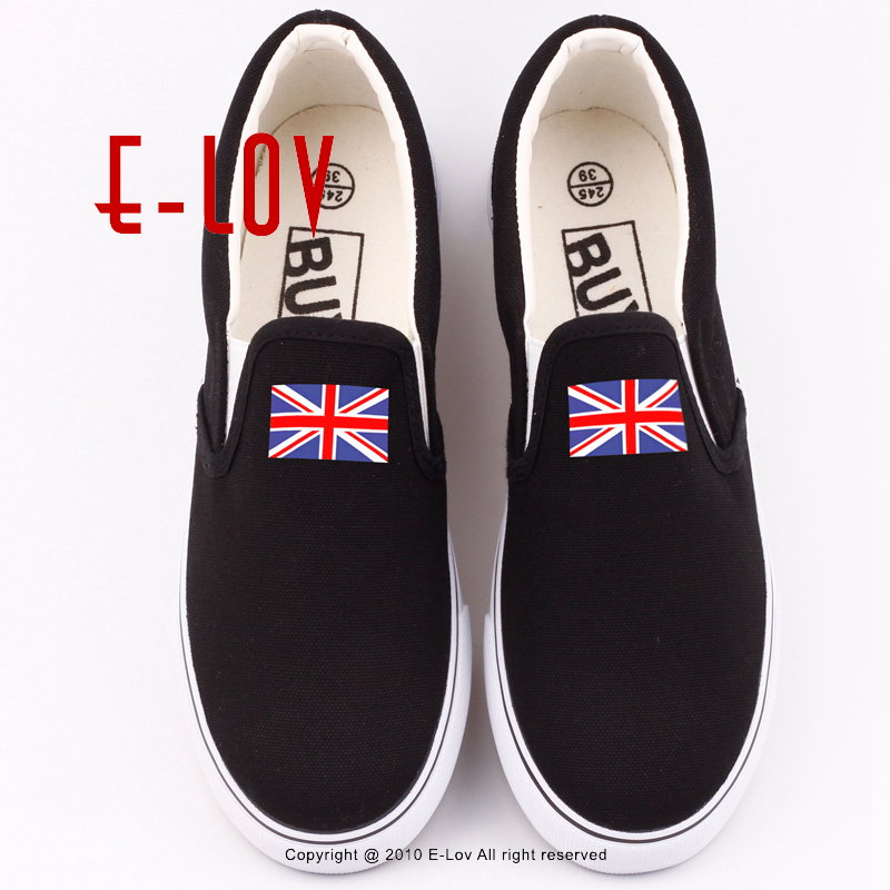 E-LOV New British England United Kingdom Canvas Shoes Printing Great Britain Union Jack National Flag Loafers Shoe English e lov women casual walking shoes graffiti aries horoscope canvas shoe low top flat oxford shoes for couples lovers