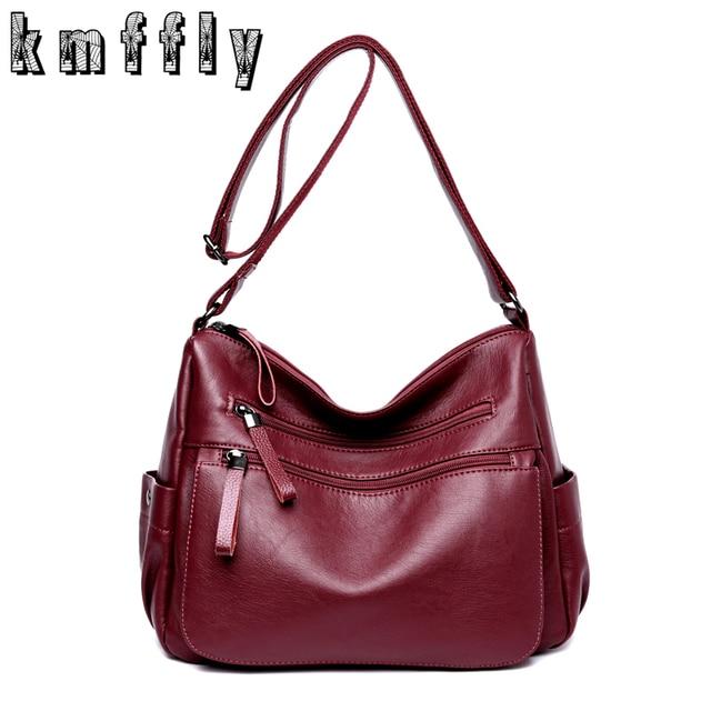 c847b17aeac4 KMFFLY 2018 Women Bag Fashion Sheepskin Leather Designer Handbags High  Quality Ladies Bags Famous Shoulder Bag Double zipper Sac-in Top-Handle Bags  from ...