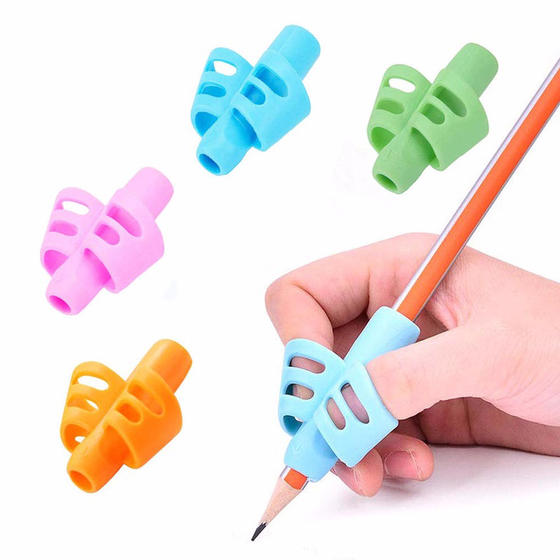 4 Pcs Two-finger Silicone Pen Grips Five Colors Mixing Student Stationery Writing Posture Corrector Pencil Cover Love Writing