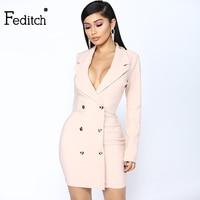 Feditch New Fashion Mini Summer Dress 2018 Pink Color V Neck Sex Dress Women Night club wear Robe Femme Party Dresses Vestido