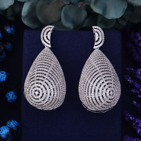 GODKI 71mm Luxury Trendy Layer Flower Leaf Cubic Zirconium Naija Wedding Party Earring Fashion Jewelry For