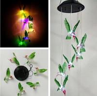 Outdoor LED Solar Lamp Hummingbirds Wind Chime Home Garden Decor Solar Light Solar Powered Color Changing Wind Chime Light Lamp