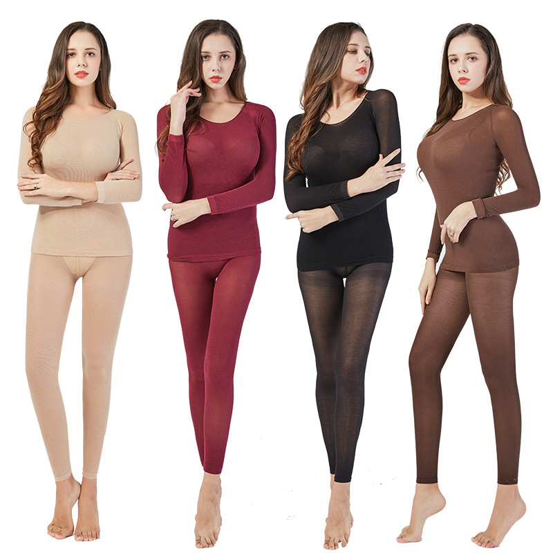 NEWEST Winter 37 Degree Constant Temperature Thermal Underwear For Women Ultrathin Elastic Thermo Underwear Seamless Long Johns