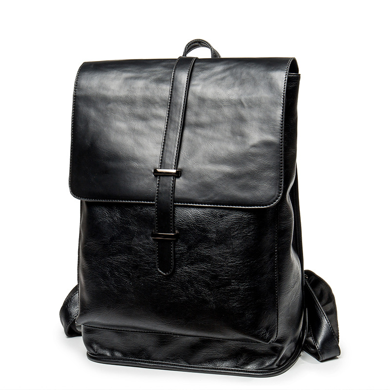 Men's Backpack Waterproof PU Leather Bags Fashion Boys School Bag Teenagers Luxury Designer Casual Large Laptop Bag Male