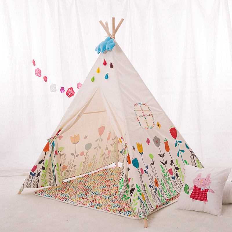 Lovely Cartoon Kids Teepee Four Poles Children Play Tent Cotton Canvas Baby Tipi Tent Flowers Printed Play House for Baby Room