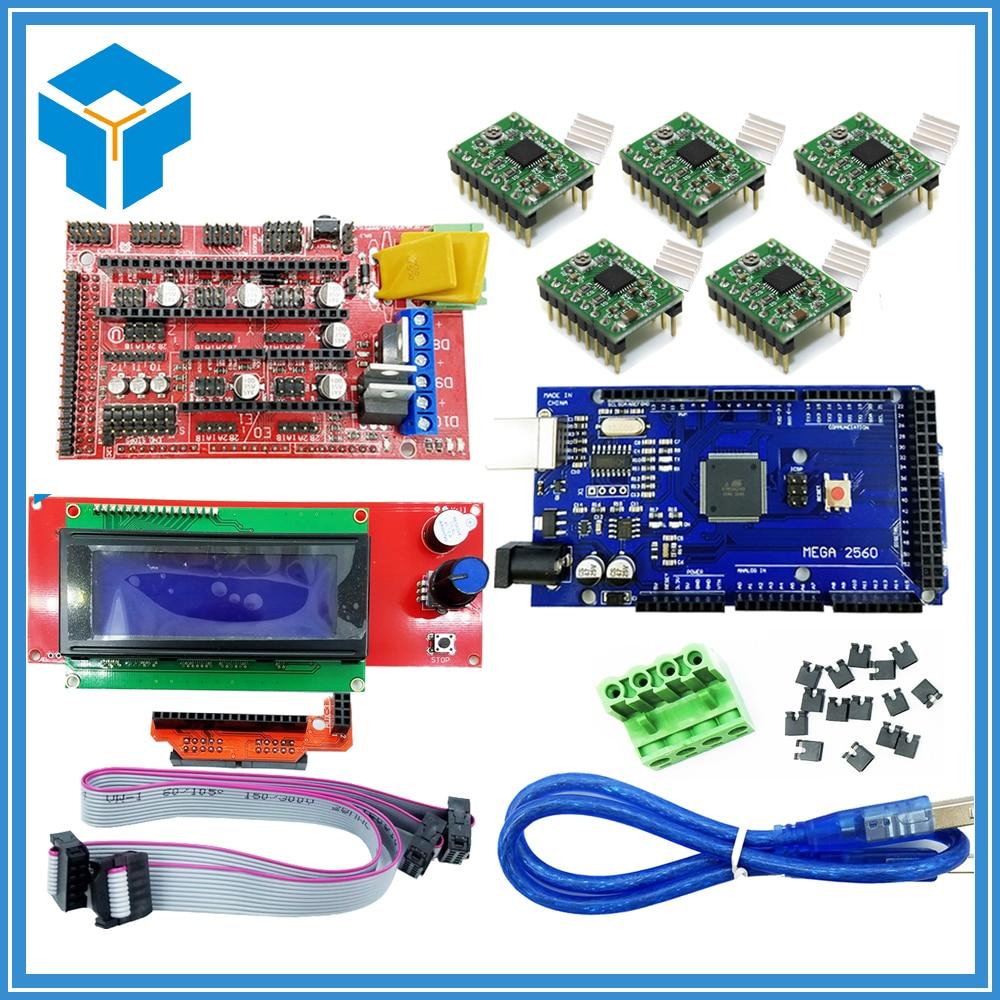 3D Printer kit Mega 2560 R3 RAMPS 1.4 Controller 5pcs A4988 Stepper Driver Module 2004 controller for 3D printer part parts ramps 1 4 3d printer control shield 4988 stepper driver for diy project