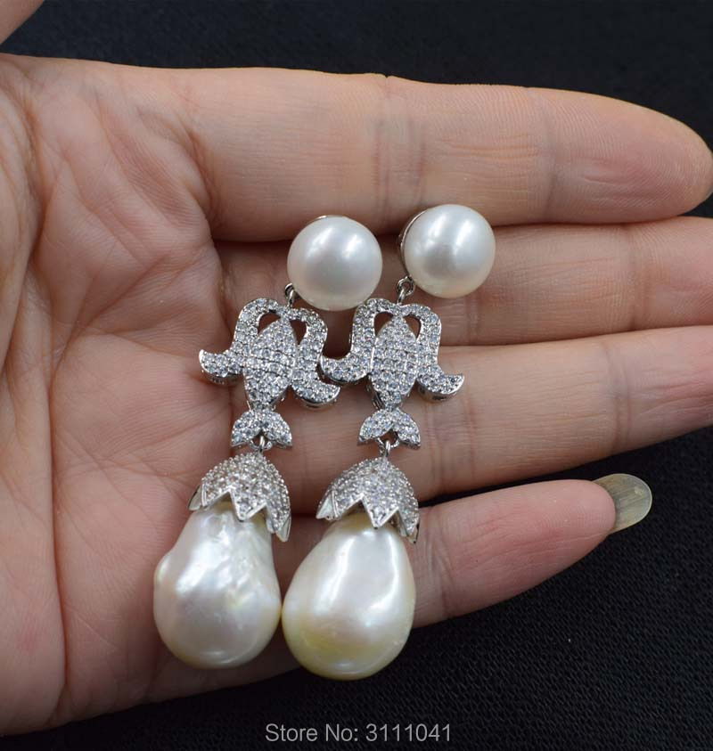 цена на one pair white reborn keshi freshwater pearl 13-18mm drop hook earrings wholesale beads FPPJ