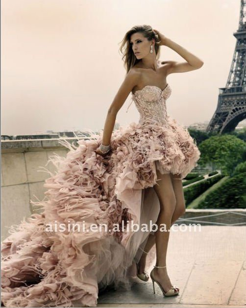 Customer made front short long back beaded pink feather wedding dresses