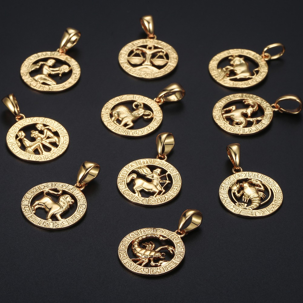 Image 4 - Mens Womens 12 Horoscope Zodiac Sign Gold Pendant Necklace  Aries Leo Wholesale Dropshipping 12 Constellations Jewelry GPM24Pendant  Necklaces
