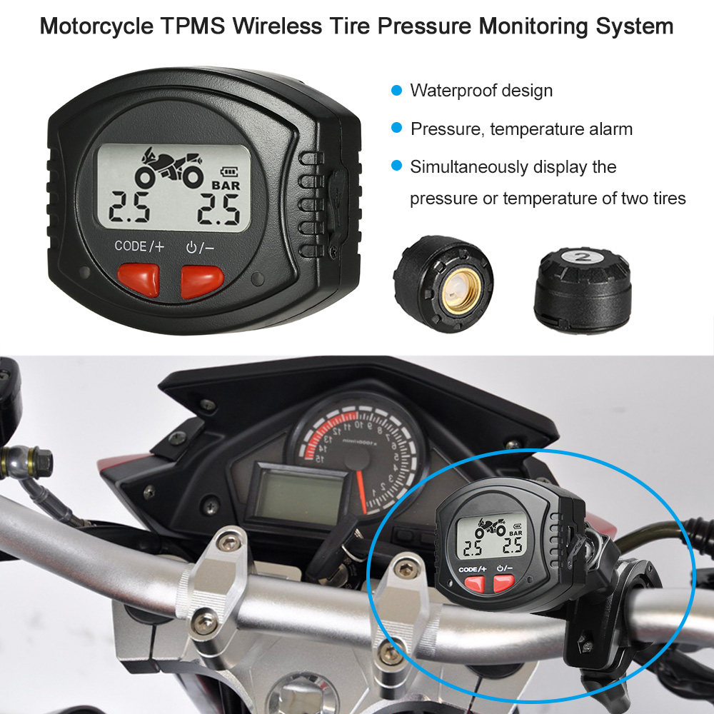 Motorcycle TPMS Wireless Tire Pressure Monitoring System LCD Display Bar/PSI Unit w/ Waterproof External Sensors wireless solar car tpms tire pressure monitoring system with 4 internal sensors bar psi unit